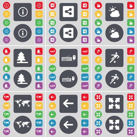globe arrow: Information mark, Share, Cloud, Firtree, Keyboard, Football, Globe, Arrow left, Full screen icon symbol. A large set of flat, colored buttons for your design. Vector illustration Illustration