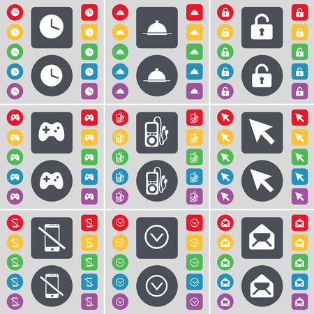 mp3 player: Clock, Tray, Lock, Gamepad, MP3 player, Cursor, Smartphone, Arrow down, Message icon symbol. A large set of flat, colored buttons for your design. Vector illustration