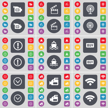 arrow down icon: Film camera, Clapper, Wi-Fi, Exclamation mark, Ship, Buy, Arrow down icon symbol. A large set of flat, colored buttons for your design. Vector illustration