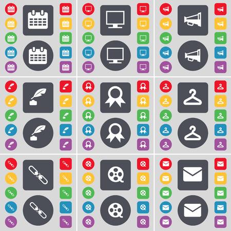 videotape: Calendar, Monitor, Megaphone, Ink pot, Medal, Hanger, Link, Videotape, Message icon symbol. A large set of flat, colored buttons for your design. Vector illustration