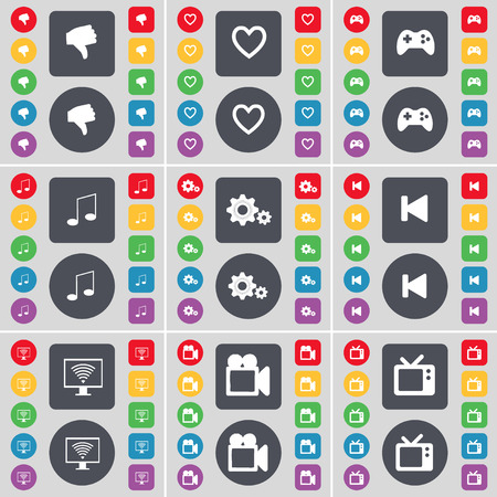 heart gear: Hand, Heart, Gamepad, Note, Gear, Media skip, Monitor, Film camera, Retro TV icon symbol. A large set of flat, colored buttons for your design. Vector illustration