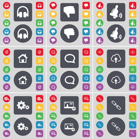 chat bubble: Headphones, Dislike, Bell, House, Chat bubble, Cloud, Gears, Pictures, Link icon symbol. A large set of flat, colored buttons for your design. Vector illustration