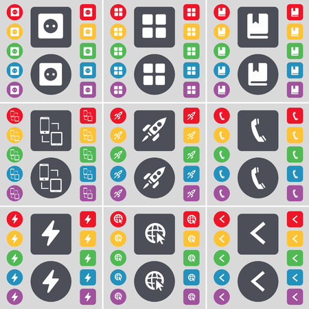 arrow left icon: Socket, Apps, Dictionary, Connection, Rocket, Receiver, Flash, Web cursor, Arrow left icon symbol. A large set of flat, colored buttons for your design. Vector illustration