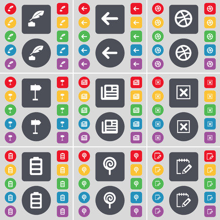 ink pot: Ink pot, Arrow left, Ball, Sighpost, Newspaper, Stop, Battery, Lollipop, Notebook icon symbol. A large set of flat, colored buttons for your design. Vector illustration Illustration