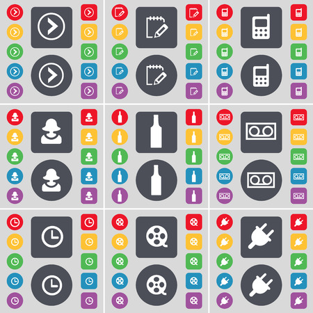 videotape: Arrow right, Survey, Mobile phone, Avatar, Bottle, Cassette, Clock, Videotape, Socket icon symbol. A large set of flat, colored buttons for your design. Vector illustration