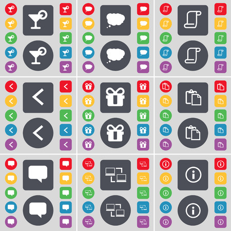 chat bubble vector: Cocktail, Chat cloud, Scroll, Arrow left, Gift, Survey, Chat bubble, Connection, Information icon symbol. A large set of flat, colored buttons for your design. Vector illustration