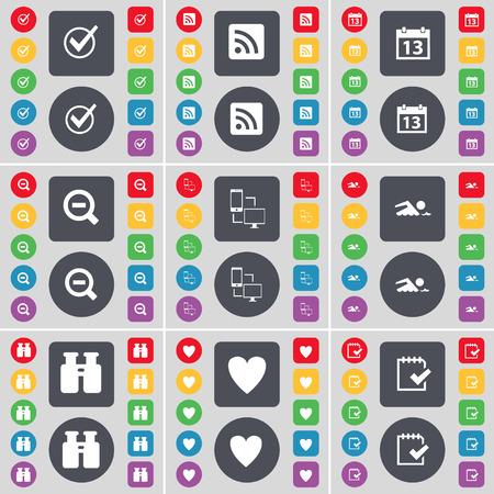 calandar: Tick, RSS, Calandar, Magnifying glass, Connection, Swimmer, Binoculars, Heart, Survey icon symbol. A large set of flat, colored buttons for your design. Vector illustration
