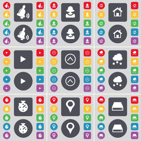 disco duro: Bell, Avatar, Casa, Media Play, Flecha arriba, Nube, Cron�metro, Checkpoint, Hard icono de la unidad de s�mbolos. Un gran conjunto de planos botones, colores para su dise�o. Ilustraci�n vectorial