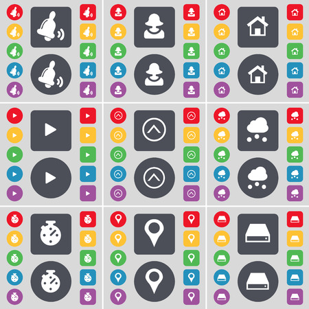information icon: Bell, Avatar, House, Media play, Arrow up, Cloud, Stop watch, Checkpoint, Hard drive icon symbol. A large set of flat, colored buttons for your design. Vector illustration Illustration