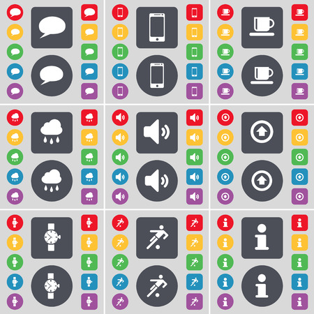 chat up: Chat bubble, Smartphone, Cup, Cloud, Sound, Arrow up, Wrist watch, Silhouette, Information icon symbol. A large set of flat, colored buttons for your design. Vector illustration