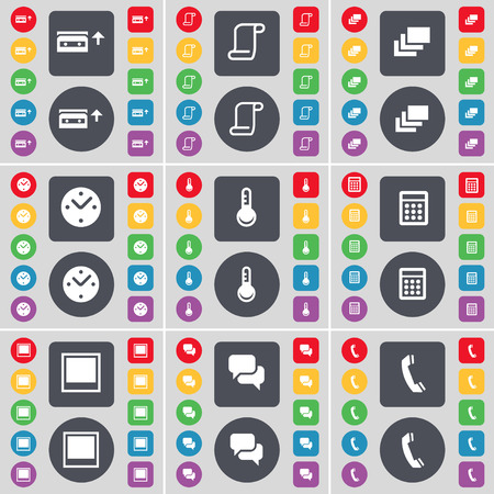 chat window: Cassette, Scroll, Gallery, Clock, Thermometer, Calculator, Window, Chat, Receiver icon symbol. A large set of flat, colored buttons for your design. Vector illustration Illustration