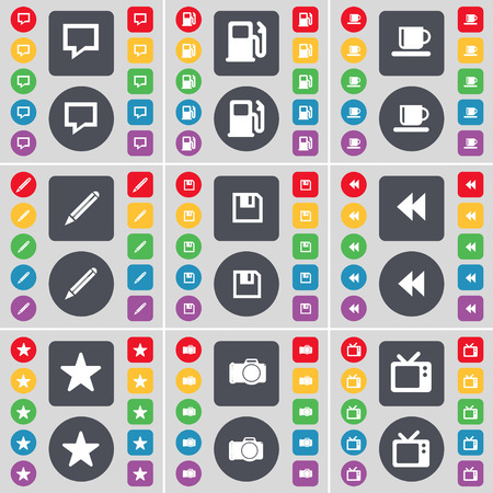 tv station: Chat bubble, Gas station, Cup, Pencil, Floppy, Rewind, Star, Camera, Retro TV icon symbol. A large set of flat, colored buttons for your design. Vector illustration Illustration
