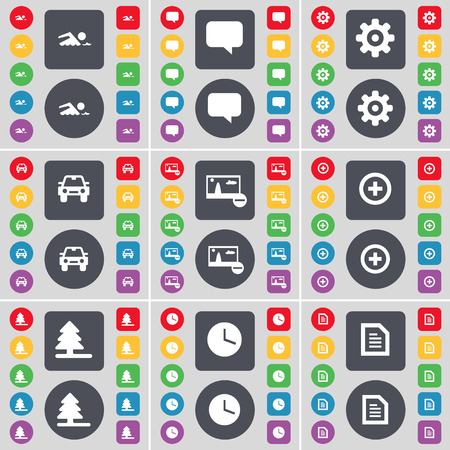chat bubble: Swimmer, Chat bubble, Gear, Car, Picture, Plus, Firtree, Clock, Text file icon symbol. A large set of flat, colored buttons for your design. Vector illustration Illustration