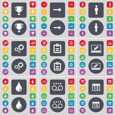 arrow right: Cup, Arrow right, Silhouette, Gear, Survey, Laptop, Drop, Cassette, Calendar icon symbol. A large set of flat, colored buttons for your design. Vector illustration