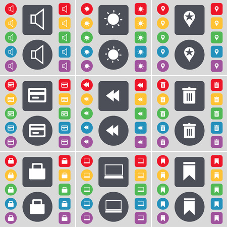 sound card: Sound, Light, Checkpoint, Credit card, Rewind, Trash can, Lock, Laptop, Marker icon symbol. A large set of flat, colored buttons for your design. Vector illustration Illustration