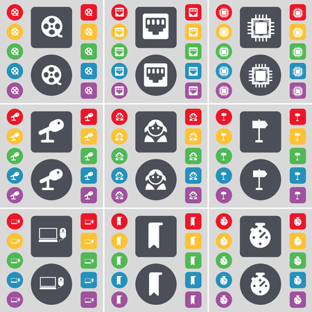 lan: Videotape, LAN socket, Processor, Microphone, Avatar, Signpost, Laptop, Marker, Stopwatch icon symbol. A large set of flat, colored buttons for your design. Vector illustration