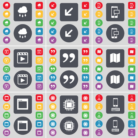 media player: Cloud, Deploying screen, SMS, Media player, Quotation mark, Map, Window, Processor, Smartphone icon symbol. A large set of flat, colored buttons for your design. Vector illustration Illustration