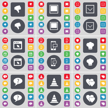 chat window: Dislike, Window, Arrow down, Window, SMS, Cooking hat, Chat bubble, Cone, Heart icon symbol. A large set of flat, colored buttons for your design. Vector illustration
