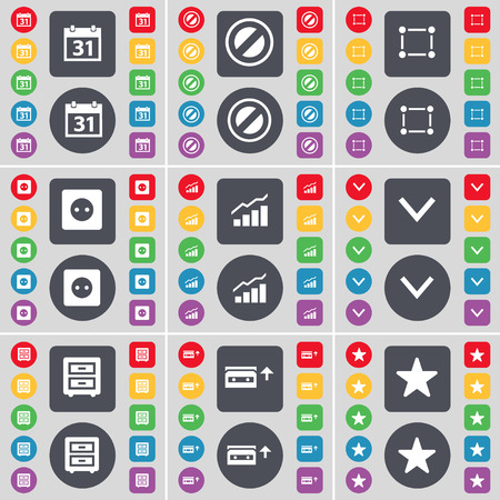 bedtable: Calendar, Stop, Frame, Socket, Graph, Arrow down, Bed-table, Cassette, Star icon symbol. A large set of flat, colored buttons for your design. Vector illustration
