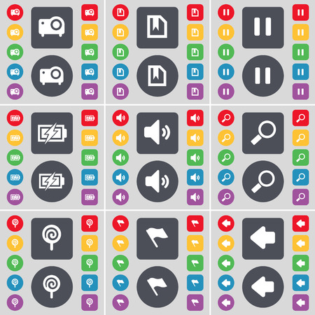 arrow left icon: Projector, File, Pause, Charging, Sound, Magnifying glass, Lollipop, Flag, Arrow left icon symbol. A large set of flat, colored buttons for your design. Vector illustration