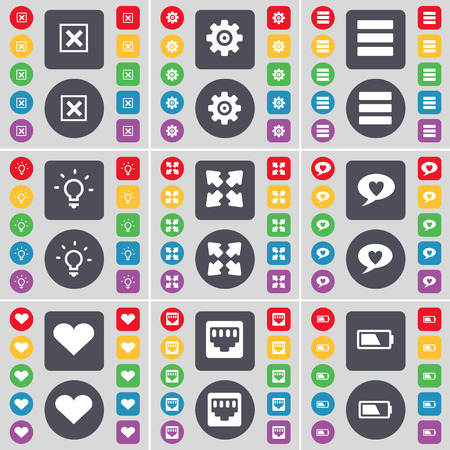 lan: Stop, Gear, Apps, Light bulb, Full screen, Chat bubble, Heart, LAN socket, Battery icon symbol. A large set of flat, colored buttons for your design. Vector illustration