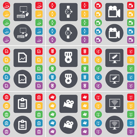 camera film: PC, Wrist watch, Film camera, Graph file, Medal, Monitor, Survey, Film camera, Monitor icon symbol. A large set of flat, colored buttons for your design. Vector illustration