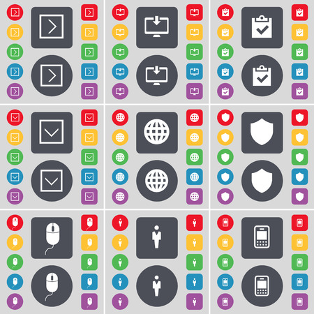 arrow down: Arrow right, Monitor, Survey, Arrow down, Globe, Badge, Mouse, Silhouette, Mobile phone icon symbol. A large set of flat, colored buttons for your design. Vector illustration