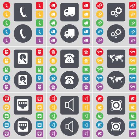 red lan: Receptor, Camiones, Equipo, Disco duro, tel�fono retro, z�calo Globo, LAN, sonido, altavoz icono de s�mbolo. Un gran conjunto de planos botones, colores para su dise�o. Ilustraci�n vectorial