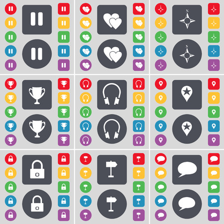 chat bubble icon: Pause, Heart, Compass, Cup, Headphones, Checkpoint, Lock, Signpost, Chat bubble icon symbol. A large set of flat, colored buttons for your design. Vector illustration