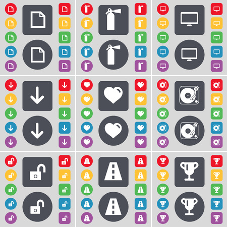 fire extinguisher symbol: File, Fire extinguisher, Monitor, Arrow down, Heart, Gramophone, Lock, Road, Cup icon symbol. A large set of flat, colored buttons for your design. Vector illustration Illustration