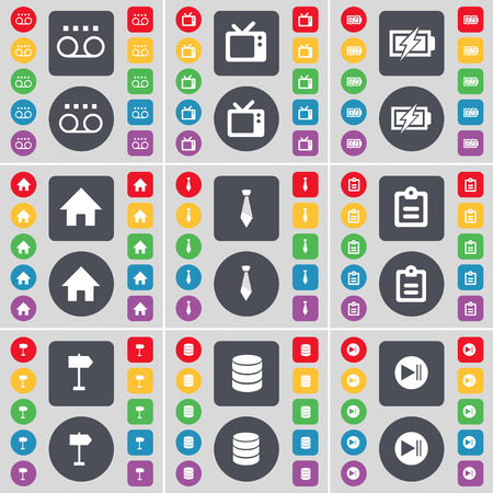 retro tv: Cassette, Retro TV, Charging, House, Tie, Survey, Signpost, Database, Media skip icon symbol. A large set of flat, colored buttons for your design. Vector illustration