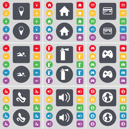 checkpoint: Checkpoint, House, Credit card, Swimmer, File extinguisher, Gamepad, Receiver, Sound, Planet icon symbol. A large set of flat, colored buttons for your design. Vector illustration Illustration