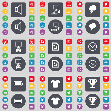 game console: Sound, PC, Lightning, Game console, Media file, Arrow down, Battery, T-Shirt, Cup icon symbol. A large set of flat, colored buttons for your design. Vector illustration Illustration