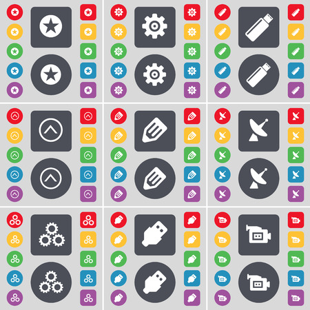 satellite dish: Star, Gear, USB, Arrow up, Pencil, Satellite dish, Gear, USB, Film camera icon symbol. A large set of flat, colored buttons for your design. Vector illustration Illustration