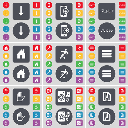 arrow down: Arrow down, Smartphone, Note, House, Silhouette, Apps, Hand, Speaker, ZIP file icon symbol. A large set of flat, colored buttons for your design. Vector illustration