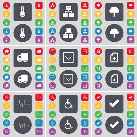 disabled person: Thermometer, Network, Tree, Truck, Arrow down, File, Pulse, Disabled person, Tick icon symbol. A large set of flat, colored buttons for your design. Vector illustration
