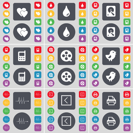 hard drive: Heart, Drop, Hard drive, Mobile phone, Videotape, Bird, Pulse, Arrow left, Printer icon symbol. A large set of flat, colored buttons for your design. Vector illustration