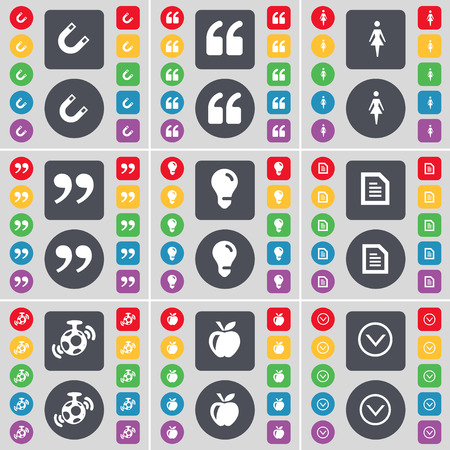 arrow down icon: Magnet, Quotation mark, Silhouette, Quotation mark, Light bulb, Text file, Speaker, Apple, Arrow down icon symbol. A large set of flat, colored buttons for your design. Vector illustration