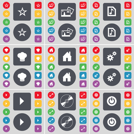 star power: Star, Picture, Music file, Cooking hat, House, Gear, Media play, Disk, Power icon symbol. A large set of flat, colored buttons for your design. Vector illustration