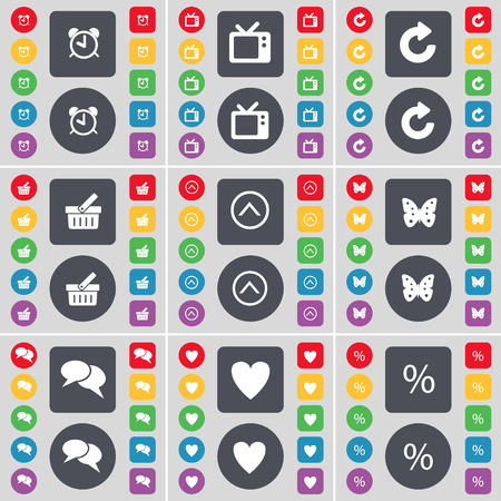 chat up: Alarm clock, Retro phone, Reload, Basket, Arrow up, Buttery, Chat, Heart, Percent icon symbol. A large set of flat, colored buttons for your design. Vector illustration