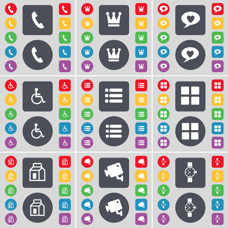 orologio da polso: Receiver, Crown, Chat bubble, Disabled person, List, Apps, Packing, CCTV, Wrist watch icon symbol. A large set of flat, colored buttons for your design. Vector illustration Vettoriali