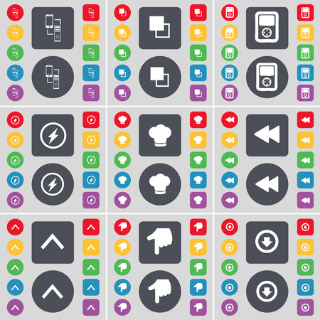 arrow down icon: Connection, Copy, Player, Flash, Cooking hat, Rewind, Arrow up, Hand, Arrow down icon symbol. A large set of flat, colored buttons for your design. Vector illustration Illustration