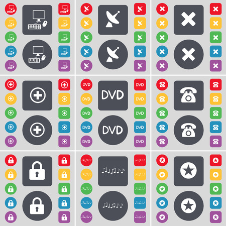 note pc: PC, Satellite dish, Stop, Plus, DVD, Retro phone, Lock, Note, Star icon symbol. A large set of flat, colored buttons for your design. Vector illustration