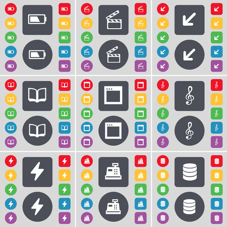 cash book: Battery, Clapper, Deploying screen, Book, Window, Clef, Flash, Cash register, Database icon symbol. A large set of flat, colored buttons for your design. Vector illustration