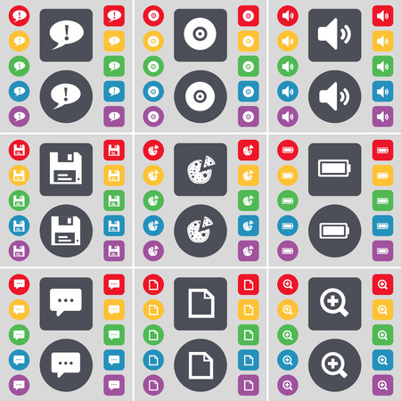 chat bubble: Chat bubble, Disk, Sound, Floppy, Pizza, Battery, Chat bubble, File, Magnifying glass icon symbol. A large set of flat, colored buttons for your design. Vector illustration