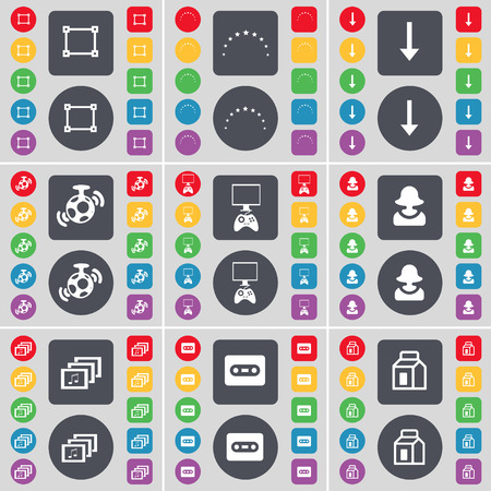 game console: Frame, Stars, Arrow down, Speaker, Game console, Avatar, Gallery, Cassette, Packing icon symbol. A large set of flat, colored buttons for your design. Vector illustration