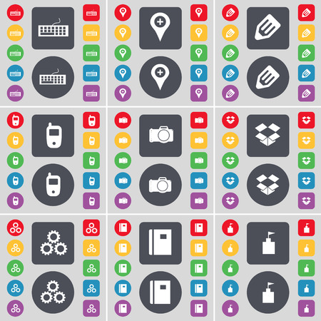 dropbox: Keyboard, Checkpoint, Pencil, Mobile phone, Camera, Dropbox, Gears, Notebook, Flag tower icon symbol. A large set of flat, colored buttons for your design. Vector illustration