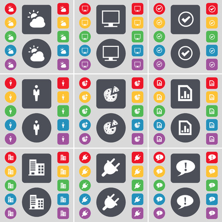 chat bubble icon: Cloud, Monitor, Tick, Silhouette, Pizza, Graph file, Building, Socket, Chat bubble icon symbol. A large set of flat, colored buttons for your design. Vector illustration Illustration