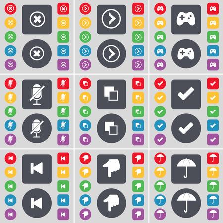 arrow right: Stop, Arrow right, Gamepad, Microphone, Copy, Tick, Media skip, Hand, Umbrella icon symbol. A large set of flat, colored buttons for your design. Vector illustration
