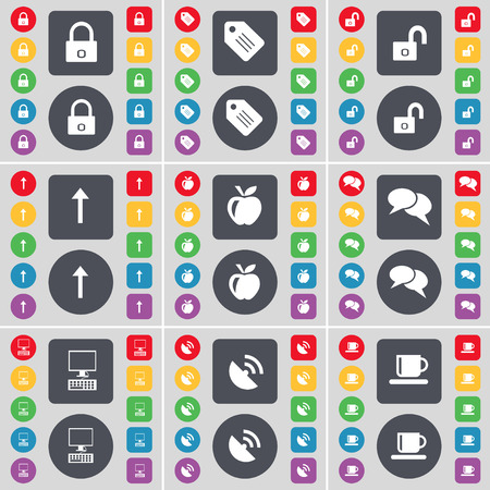 lock up: Lock, Tag, Arrow up, Apple, Chat, Monitor, Satellite dish, Cup icon symbol. A large set of flat, colored buttons for your design. Vector illustration